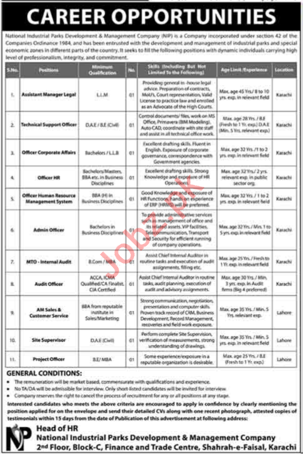 National Industrial Parks Development NIP Karachi Jobs 2020