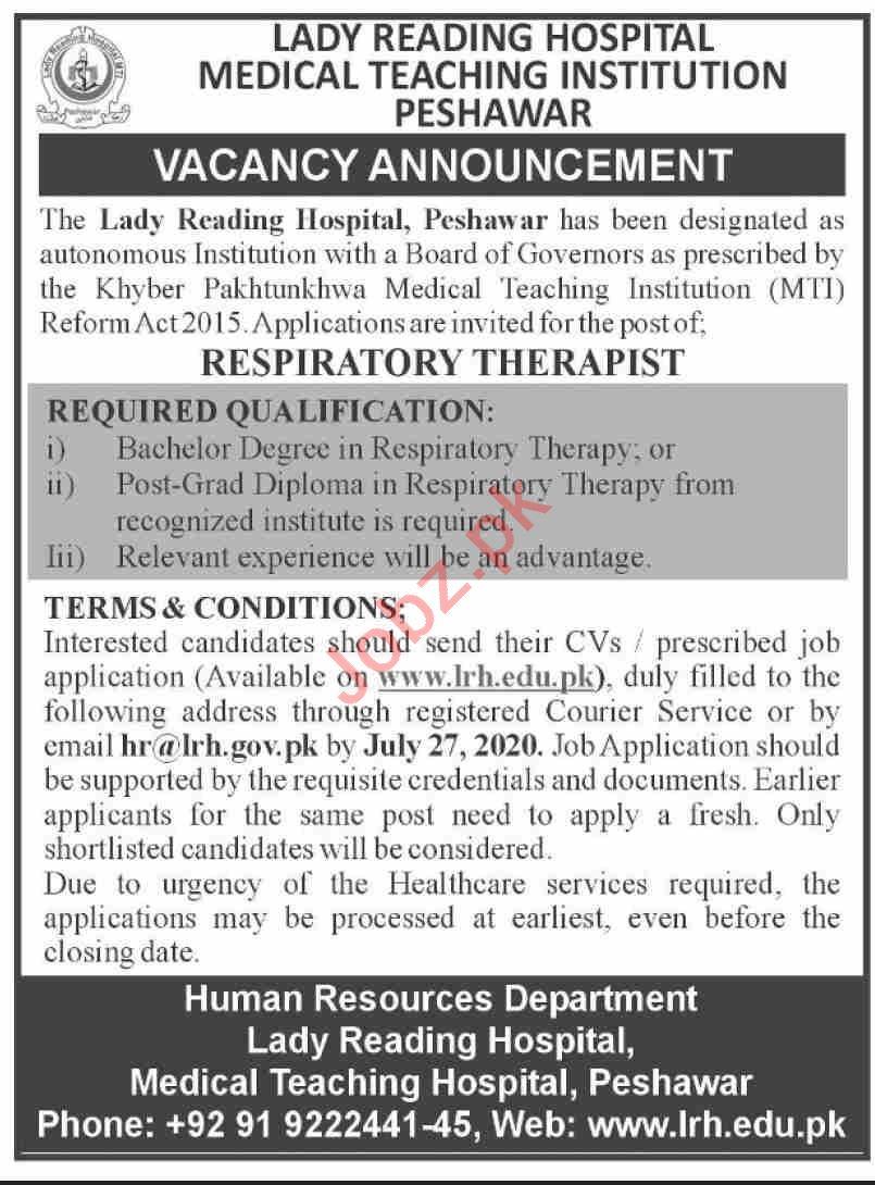 Lady Reading Hospital LRH MTI Peshawar Jobs 2020