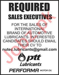 Sales Executive Jobs 2020 in PTT Lubricants