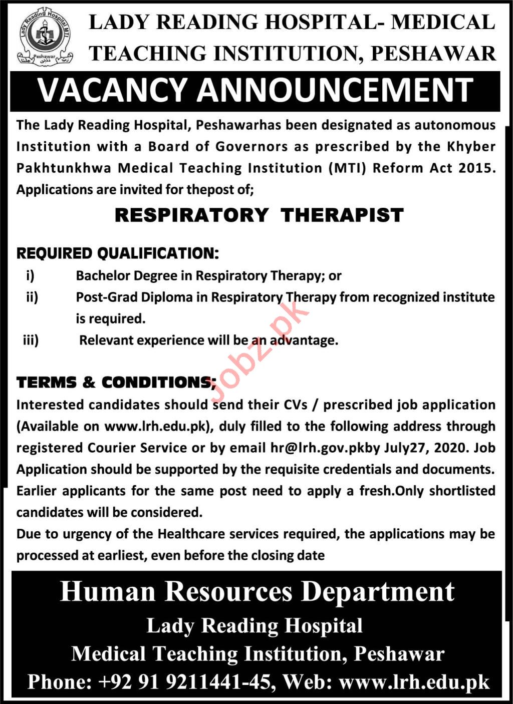 LRH MTI Medical Teaching Institution Peshawar Jobs 2020