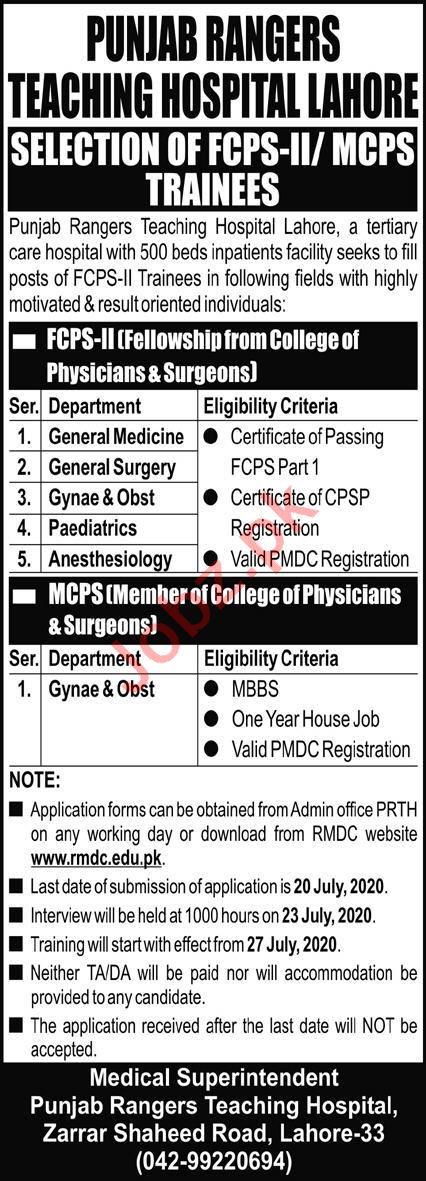 Punjab Rangers Teaching Hospital Lahore Jobs 2020 for Doctor