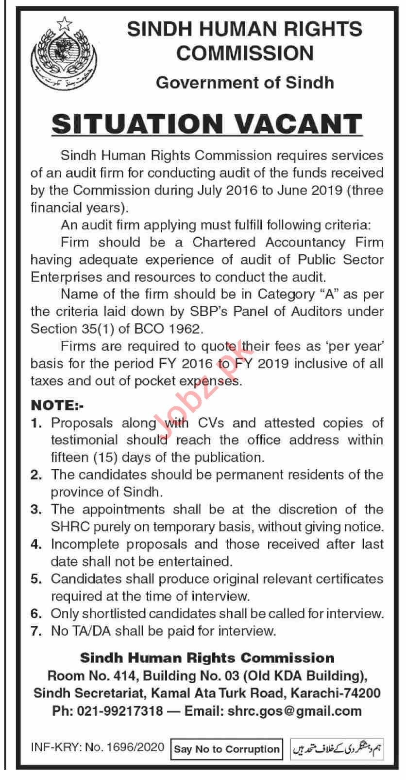 Sindh Human Rights Commission SHRC Jobs 2020 for Auditor