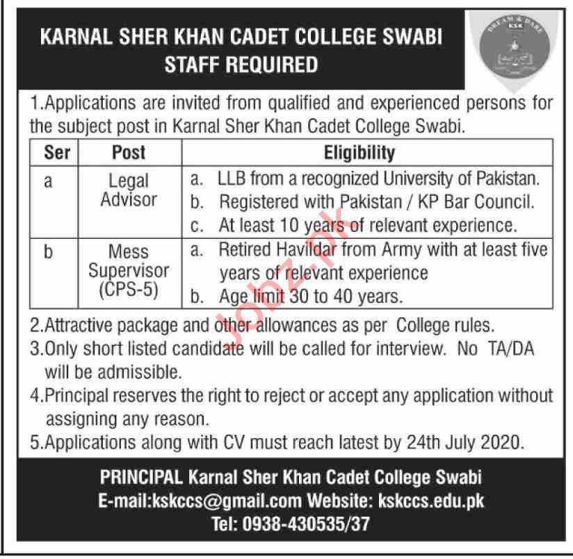 Karnal Sher Khan Cadet College KSKCSS Swabi Jobs 2020