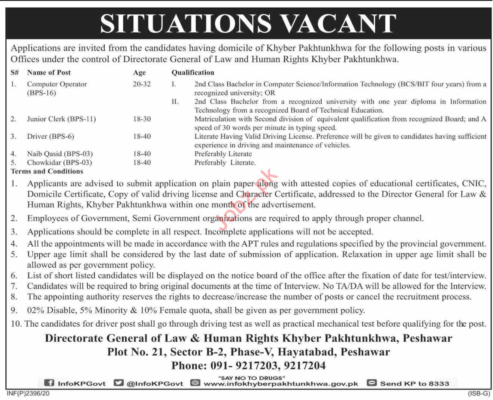 Directorate General Law & Human Rights KPK Jobs 2020