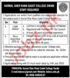 Karnal Sher Khan Cadet College Swabi Jobs for Legal Advisor