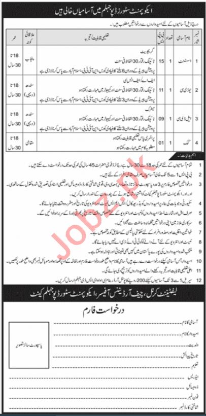 Pak Army Equipment Stores Depot ESD Jhelum Jobs 2020