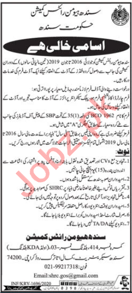 Sindh Human Rights Commission Jobs 2020 for Internal Auditor