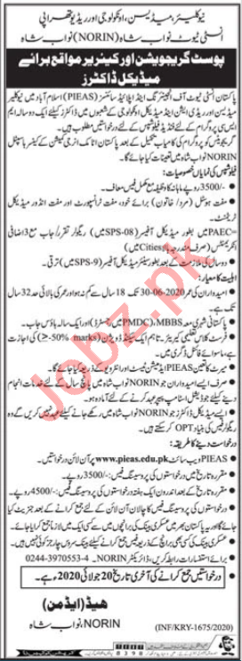 PIEAS Nuclear Medicine Oncology & Radiology Institute Jobs