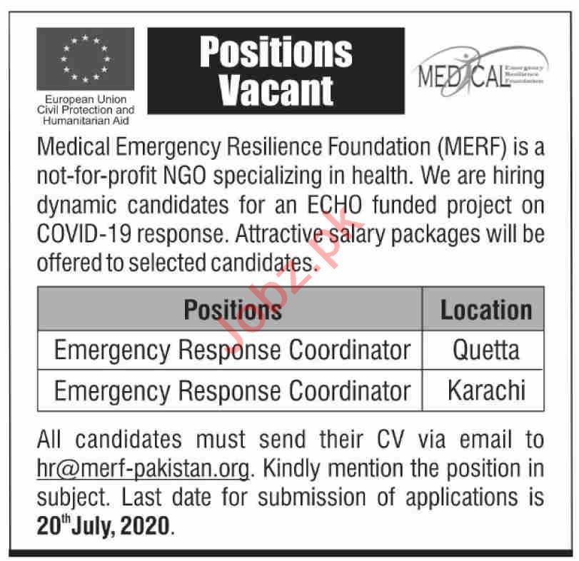Medical Emergency Resilience Foundation MERF NGO Jobs 2020