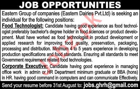 Food Technologist & Corporate Executive Jobs 2020