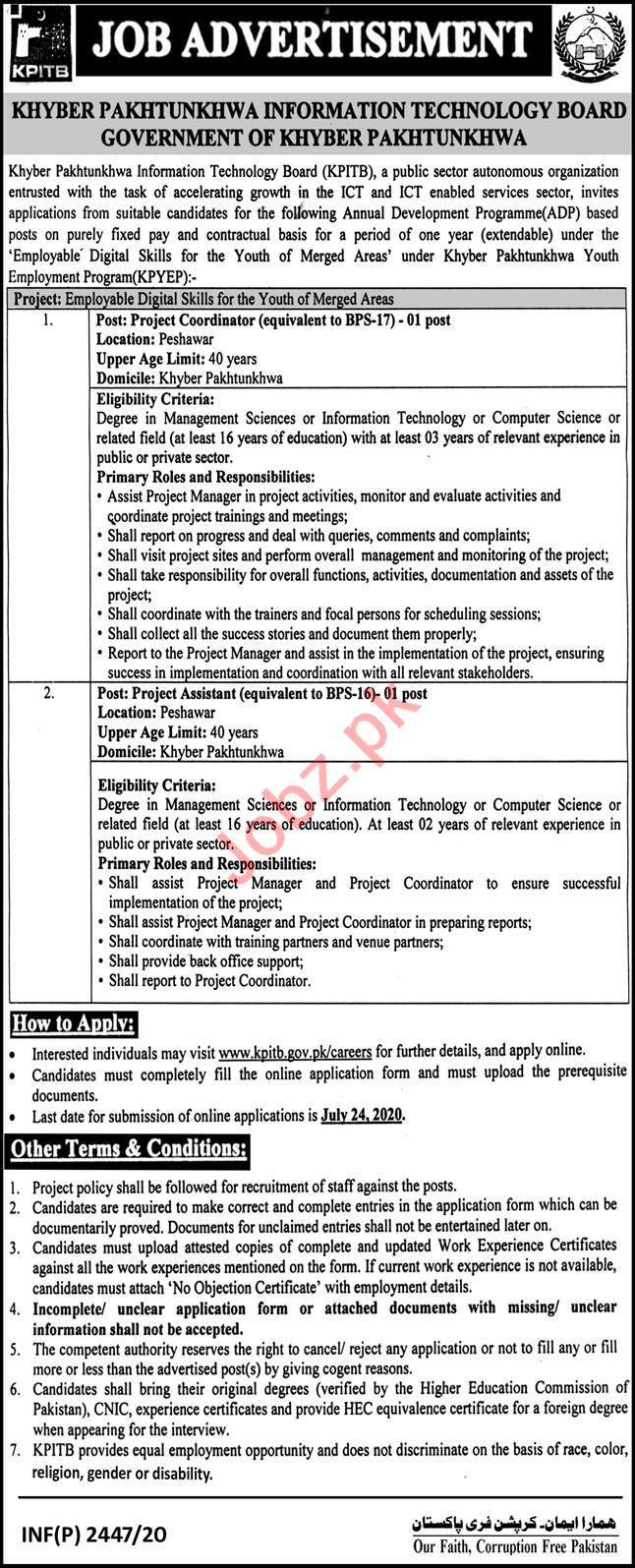 Khyber Pakhtunkhwa Youth Employment Program KPYEB Jobs 2020