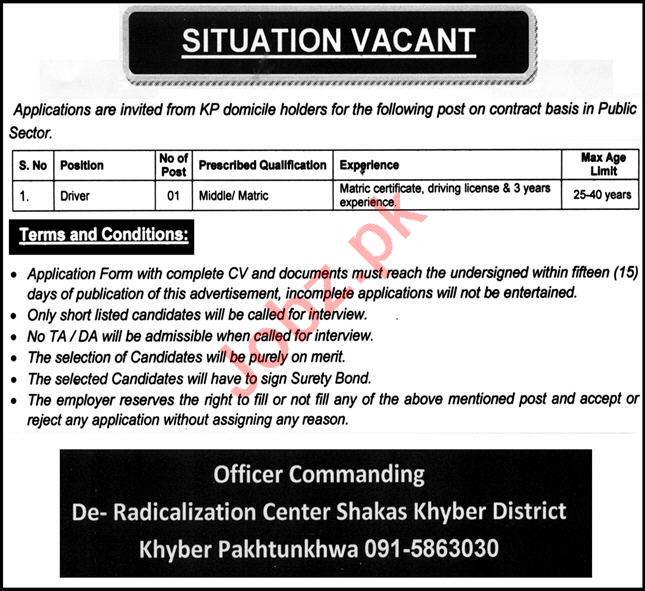 Pak Army De Radicalization Center Shakas Khyber Jobs 2020
