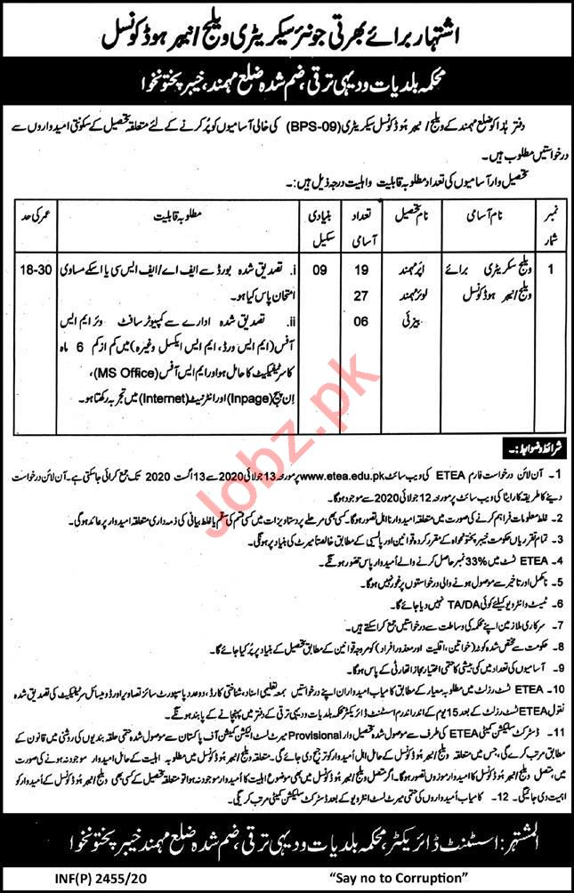 Secretary Jobs 2020 in LG&RDD Local Government Mohmand