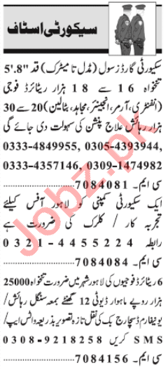 Security Incharge & Security Guard Jobs 2020 in Lahore