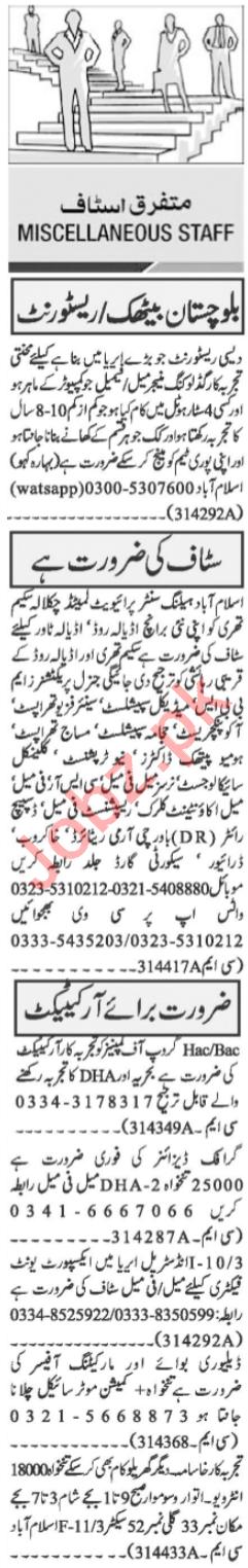 Medical Staff & Construction Staff Jobs 2020 in Islamabad