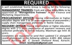 Management Trainee & Procurement Officer Jobs 2020