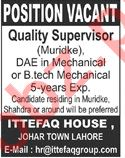 Quality Supervisor & Mechanical Technician Jobs 2020