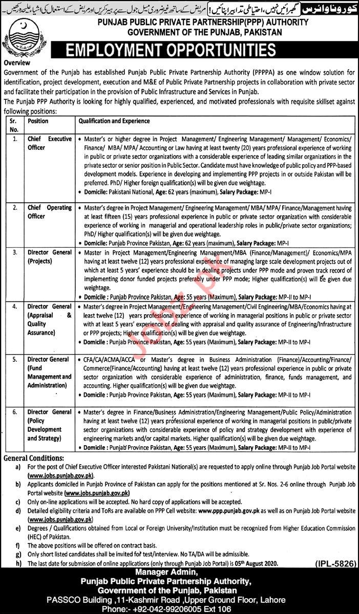 Punjab Public Private Partnership Authority PPPA Jobs 2020