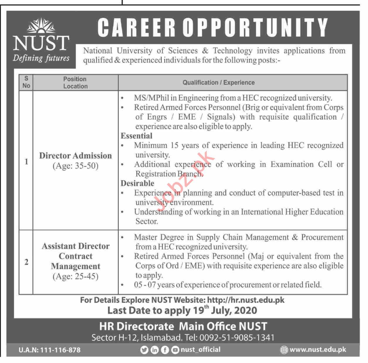 NUST University Jobs 2020 for Director & Assistant Director