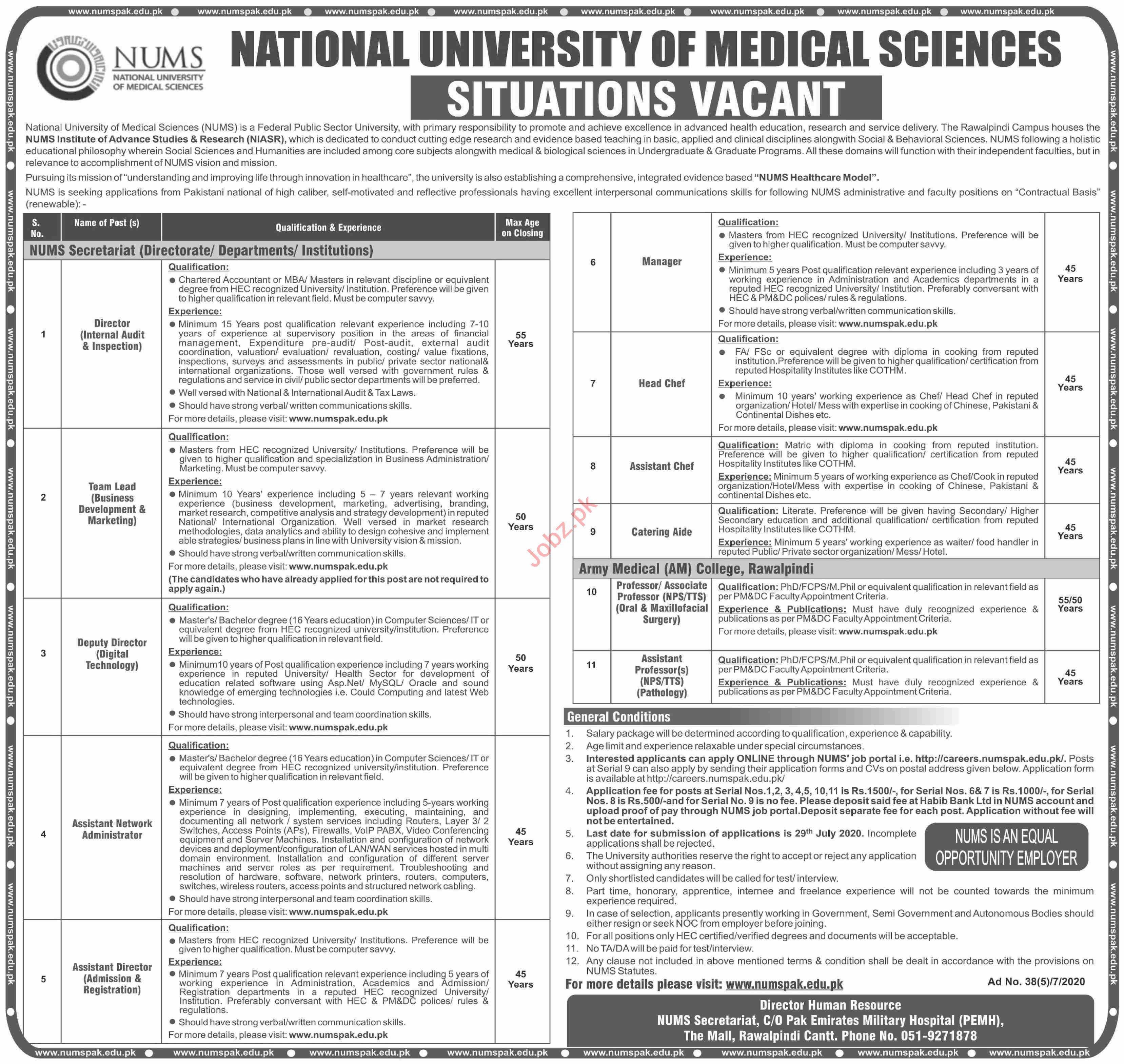 NUST University & Army Medical College AMC Jobs 2020