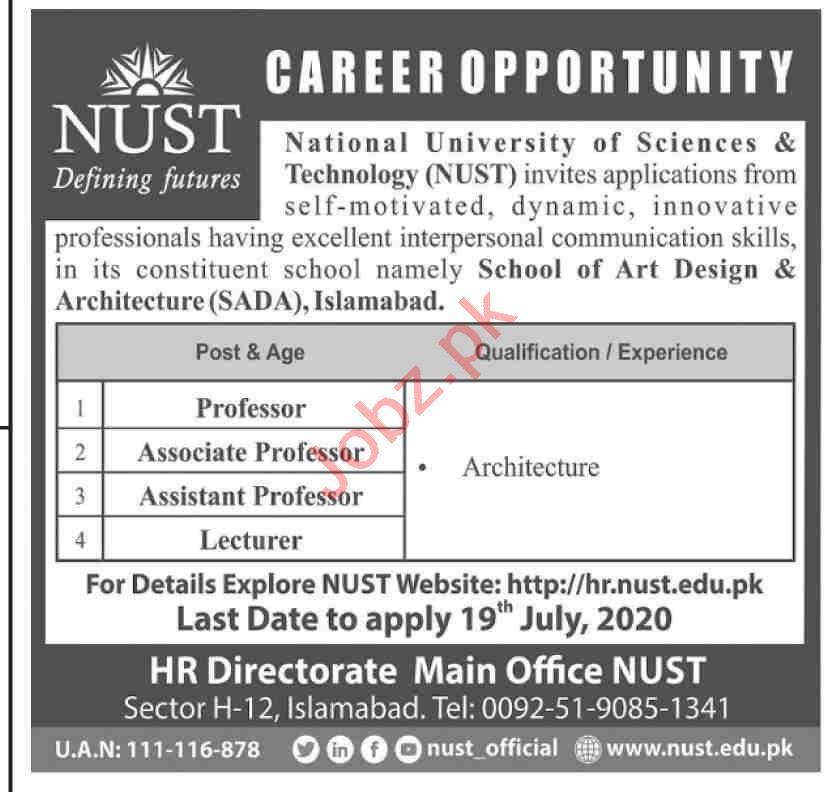 School of Art Design & Architecture SADA Islamabad Jobs 2020