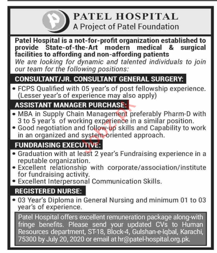 Patel Hospital Karachi Jobs 2020 for Medical Consultant