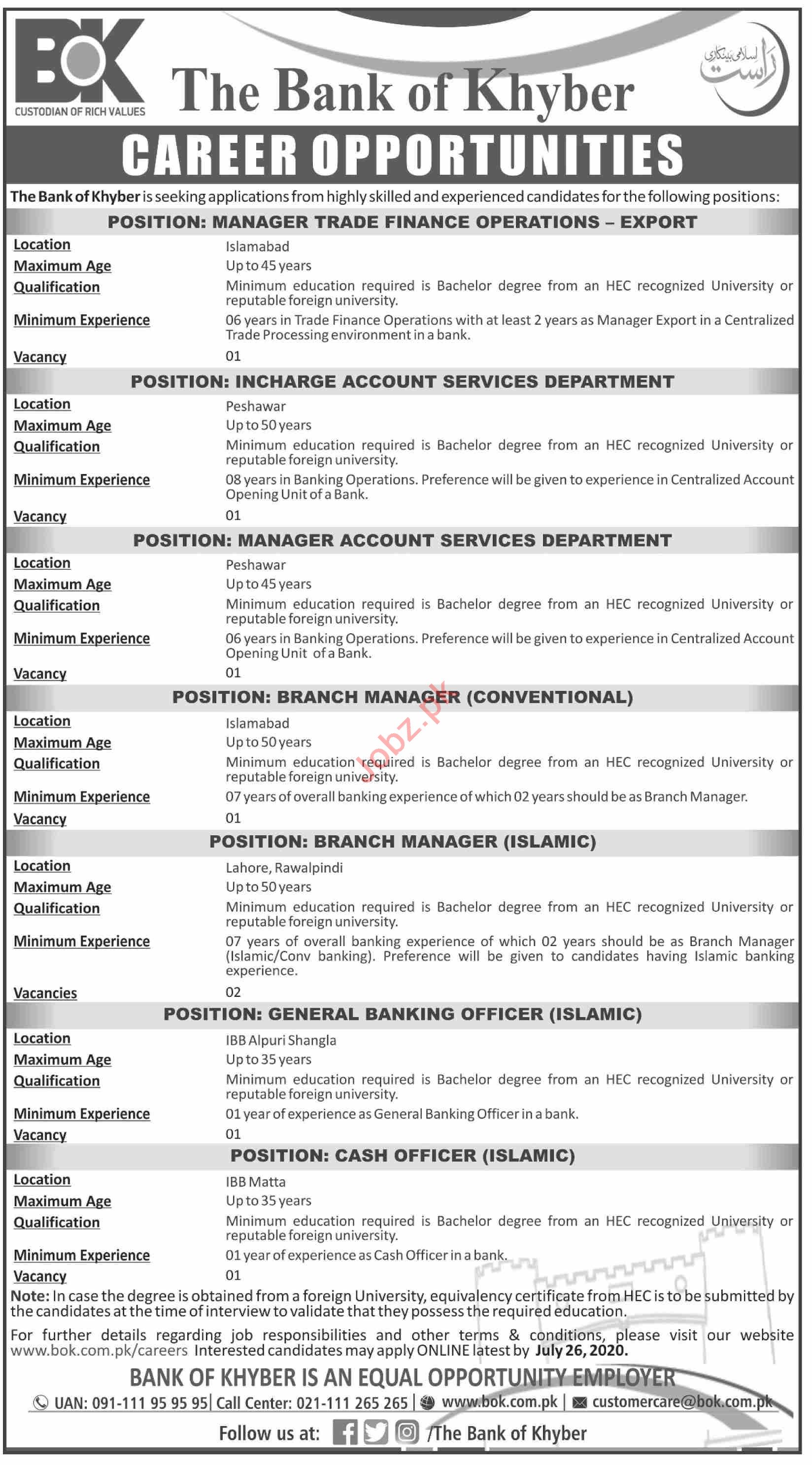 The Bank of Khyber BOK Jobs 2020 for Managers & Cash Officer