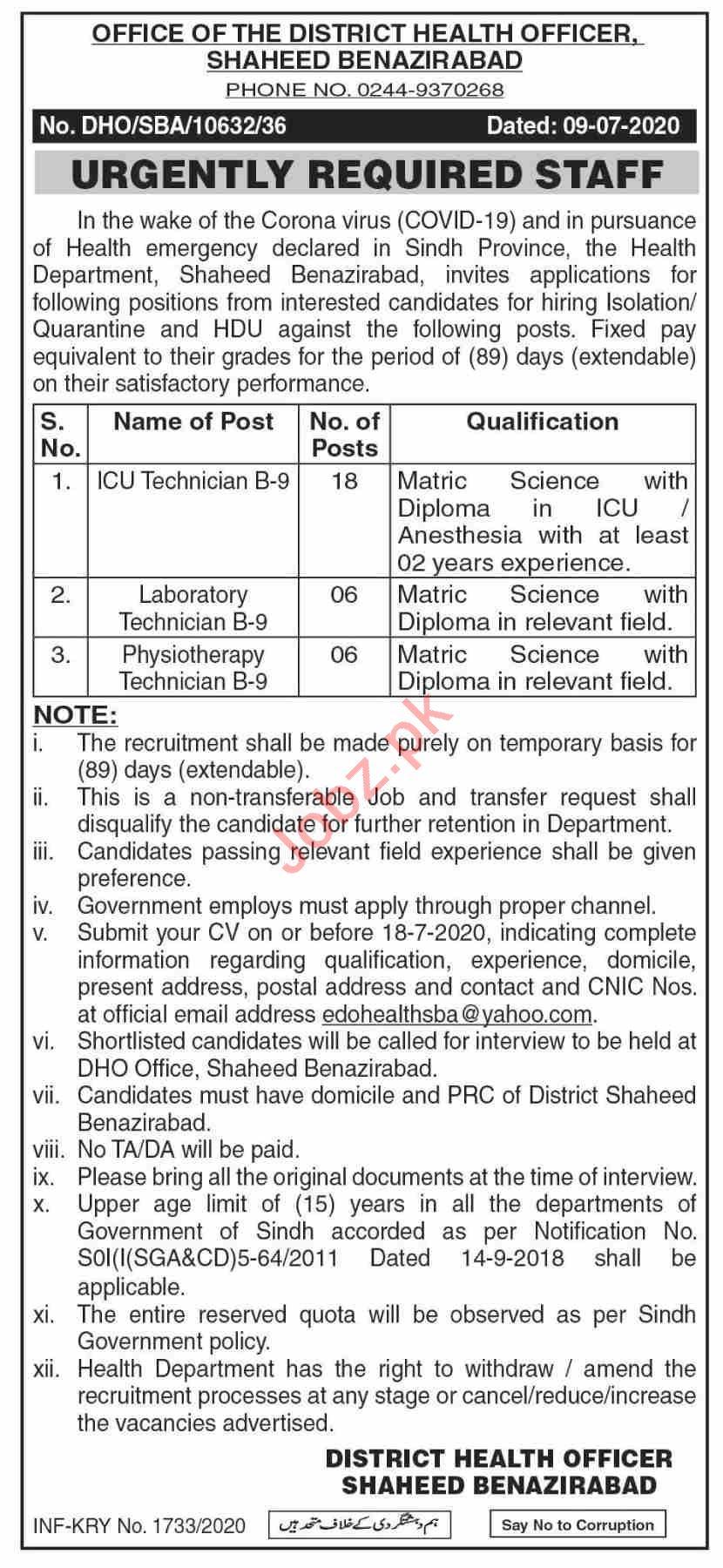 DHO Shaheed Benazirabad Jobs 2020 for Technicians