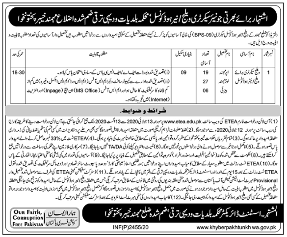 Local Government and Rural Development Department Jobs 2020