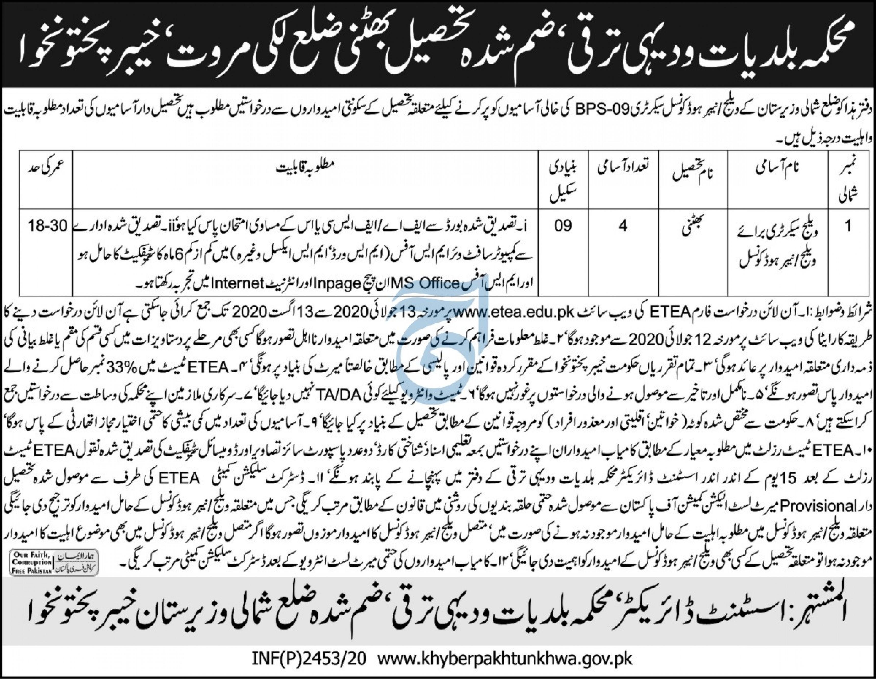 Village Secretary Jobs 2020 in Lakki Marwat via ETEA