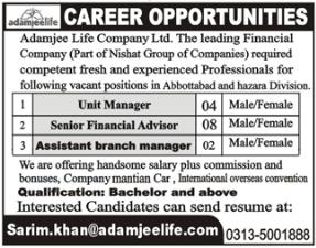 Adamjee Life Company Limited Jobs 2020
