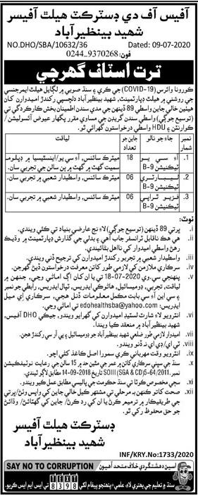 District Health Office Jobs 2020 in Shaheed Benazirabad