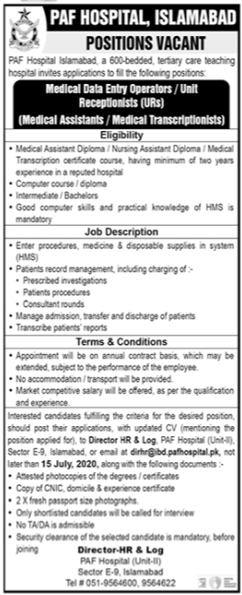 Pakistan Air Force PAF Hospital Jobs 2020 in Islamabad
