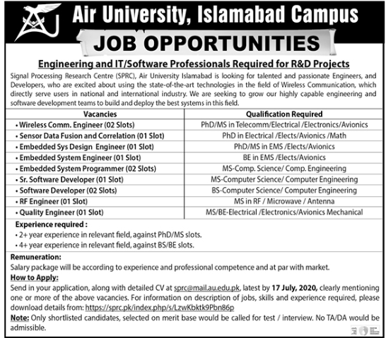 Air University Jobs 2020 in Islamabad Campus
