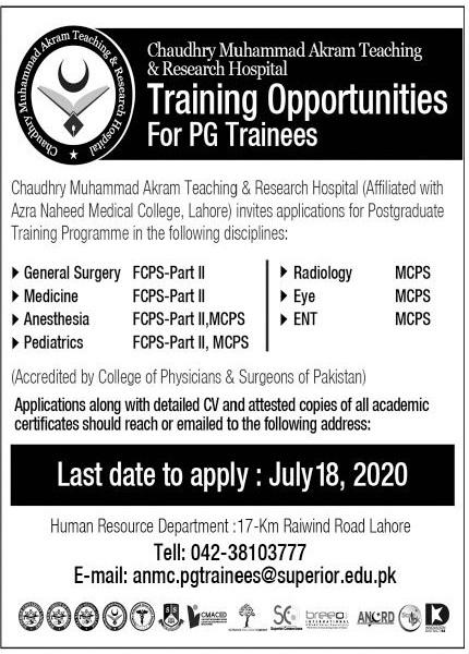 Chaudhry Muhammad Akram Teaching & Research Hospital Jobs
