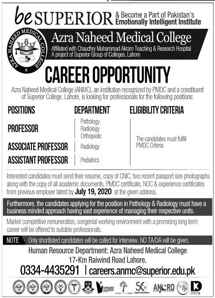 Azra Naheed Medical College Jobs 2020 in Lahore