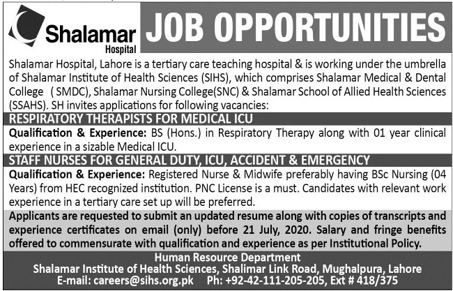Shalamar Hospital Jobs 2020 For Medical Staff