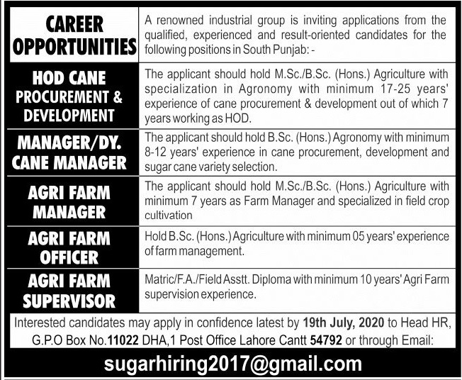 Industrial Group Jobs 2020 in Lahore Cantt