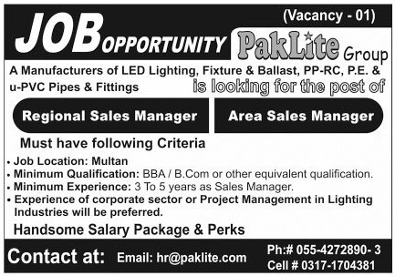 Regional Sales Manager & Area Sales Manager Jobs 2020