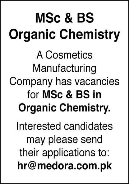 Organic Chemist Job 2020 in Karachi