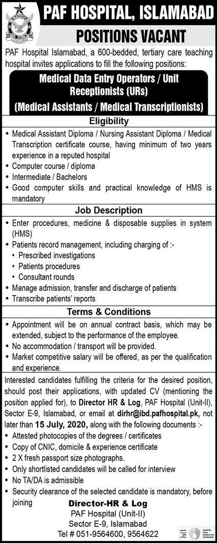 Pakistan Air Force PAF Hospital Jobs 2020