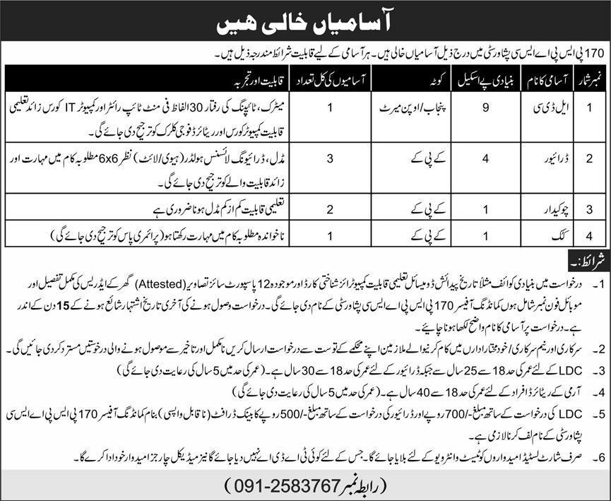 Pakistan Army 170 PSPASC Peshawar City Jobs 2020