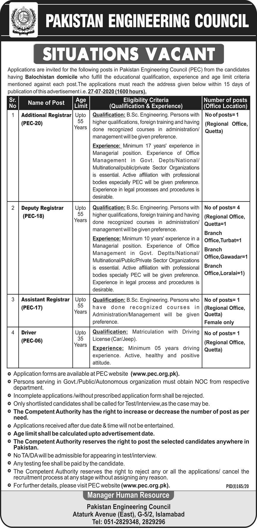 Pakistan Engineering Council PEC Jobs 2020