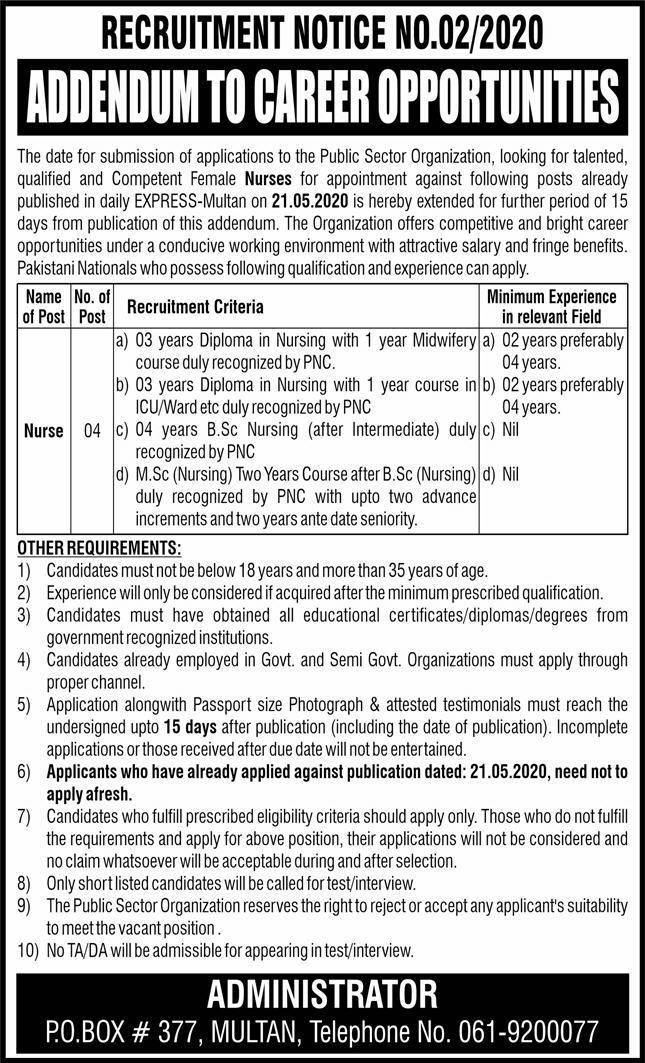 Public Sector Organization Jobs 2020 For Nurses in Multan