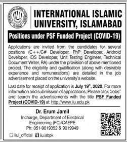 International Islamic University Jobs 2020 in Islamabad