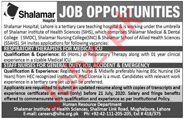 Shalamar Hospital Lahore Jobs 2020 for Staff Nurses