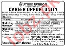 Future Fashion Tex Lahore Jobs 2020 for Marketing Manager
