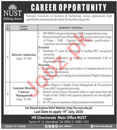 NUST University Jobs 2020 for Director Admissions