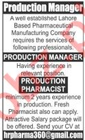 Production Manager & Production Pharmacist Jobs 2020