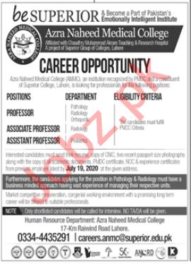Azra Naheed Medical College ANMC Lahore Jobs for Professors